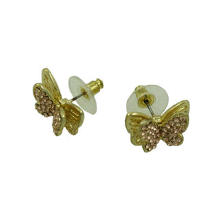 3D Double Gold and Tan Crystal Butterfly Pierced Earring -(side)  Lilylin Designs