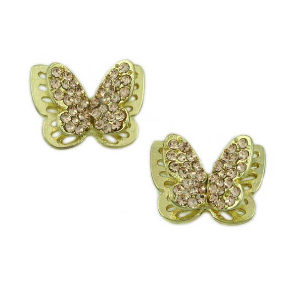 3D Double Gold and Tan Crystal Butterfly Pierced Earring - Lilylin Designs