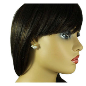 Model with Grayish Purple Crystal Bee with Crystal Wings Pierced Earring - Lilylin Designs
