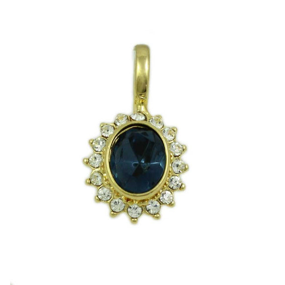 Oval Dark Blue Crystal with Clear Crystals Enhancer Pendant - Lilylin Designs