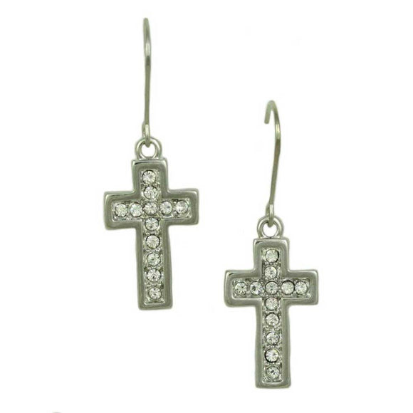Silver-tone Crystal Cross Dangling Earring - Lilylin Designs