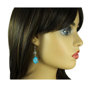 Model with Blue Marbled Glass with Blue Crystal Pierced Earring - Lilylin Designs