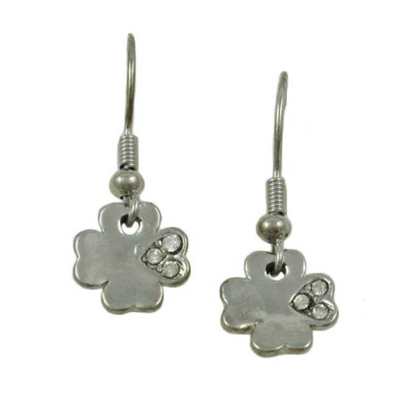 Silver-tone Crystal 4 Leaf Clover Dangling Pierced Earring - Lilylin Designs