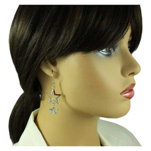 Model with Dangling Red and Blue Patriotic Crystal Stars Pierced Earring - Lilylin Designs