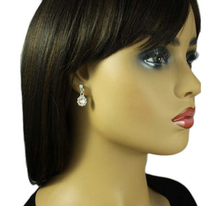 Model with Aurora Borealis Crystal Flower Dangling Pierced Earring - Lilylin Designs
