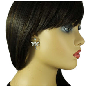 Model with Crystal and Black Enamel Dangling Dragonfly Pierced Earring - Lilylin Designs