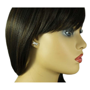 Model with Tiny Silver and Crystal Dragonfly Stud Earring - Lilylin Designs