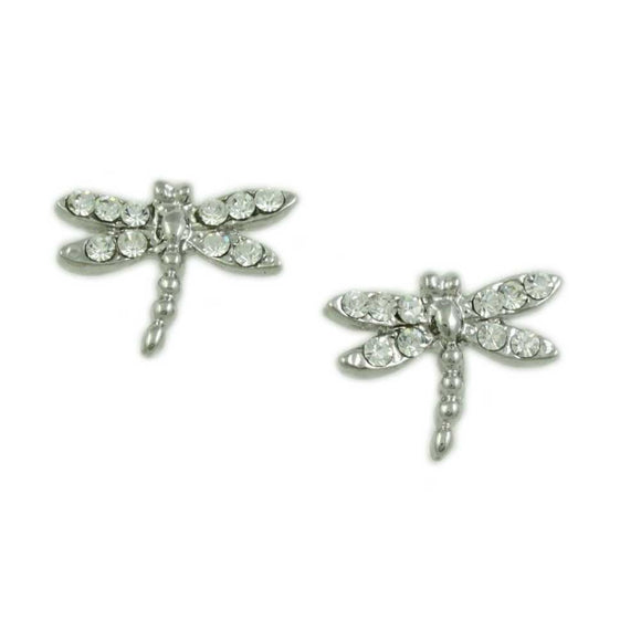 Tiny Silver-tone and Crystal Dragonfly Stud Pierced Earring - Lilylin Designs