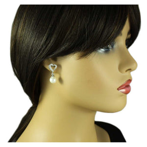 Model with Crystal Heart with White Dangling Pearl Ball Pierced Earring - Lilylin Designs