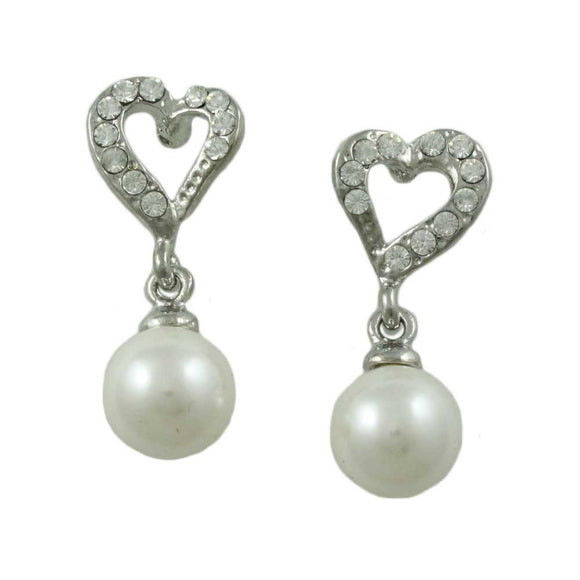Crystal Heart with White Dangling Pearl Ball Pierced Earring - Lilylin Designs