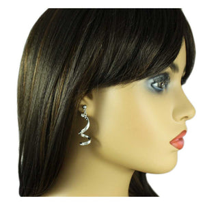 Model with Silver-tone Clear Crystal Drop Curl Pierced Earring - Lilylin Designs