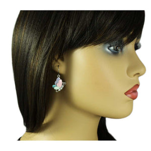 Model with Pastel Enamel with Clear Crystals Dangling Butterfly Pierced Earring - Lilylin Designs