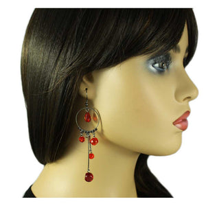 Model with Gray Metal Circle with Dangling Red Beads Pierced Earring - Lilylin Designs