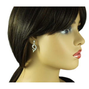 Model with Open Whale Outlined in Clear Crystals Dangling Pierced Earring - Lilylin Designs
