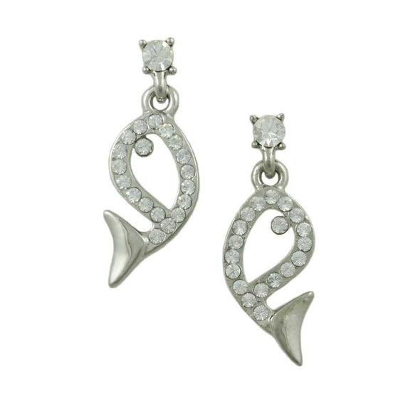 Open Whale Outlined in Clear Crystals Dangling Pierced Earring - Lilylin Designs