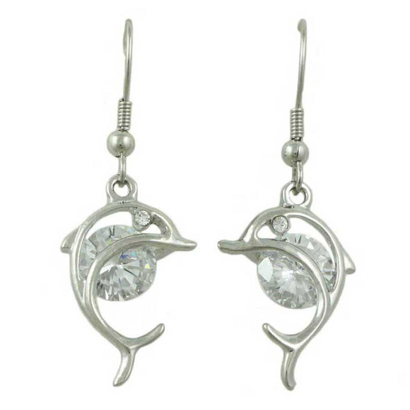 Silver Cut-out Dolphin with Large Crystal Dangling Pierced Earring - Lilylin Designs