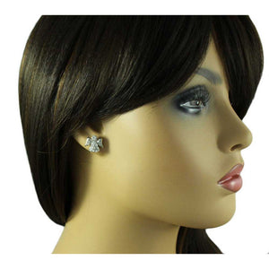Model with Small Silver Crystal Angel with Clear Crystal Face Pierced Earring - Lilylin Designs