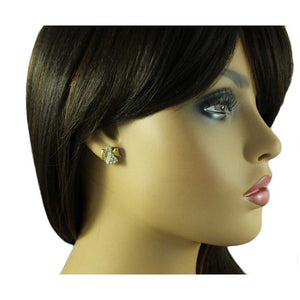 Model with Small Gold Crystal Angel with Clear Crystal Face Pierced Earring - Lilylin Designs