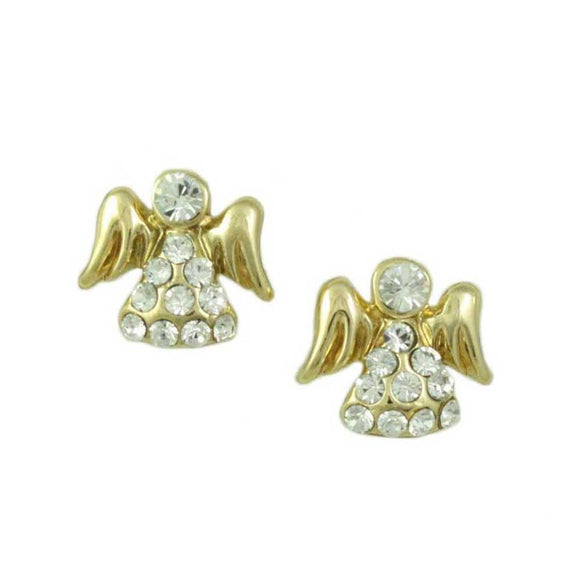 Small Gold Crystal Angel with Clear Crystal Face Pierced Earring - Lilylin Designs