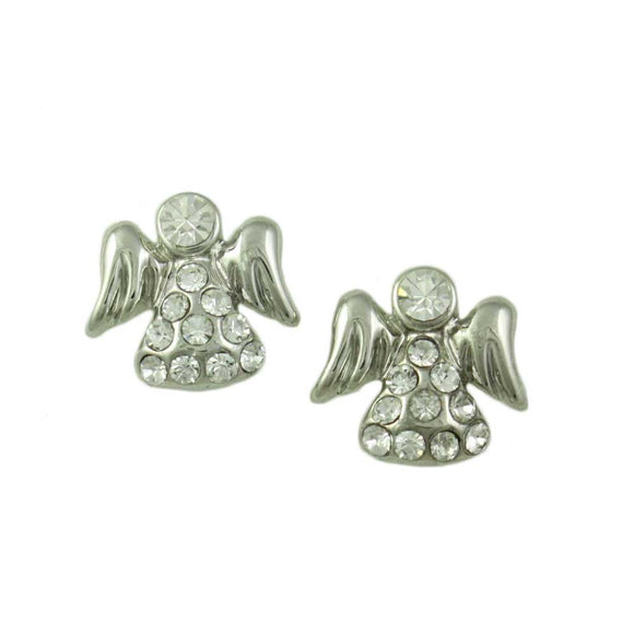 Small Silver Crystal Angel with Clear Crystal Face Pierced Earring - Lilylin Designs