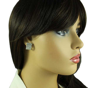 Model with r and Clear Crystals Arched Rectangle Clip Earring - Lilylin Designs