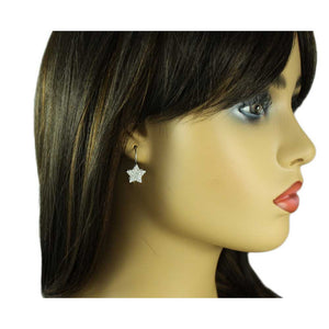 Model with Clear Crystal Studded Silver Star Pierced Earring - Lilylin Designs