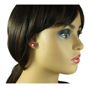 Model with Burnt Orange Enamel Flower with Crystal Center Pierced Earring - Lilylin Designs
