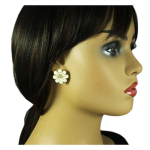 Model with Cream Enamel Flower with Light Brown Topaz Crystals Pierced Earring - Lilylin Designs