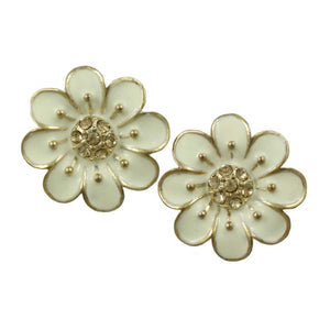 Cream Enamel Flower with Light Brown Topaz Crystals Pierced Earring - Lilylin Designs