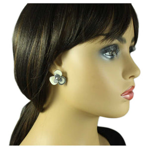 Model with Cream and Gray Enamel Flower with Gray Crystals Pierced Earring - Lilylin Designs