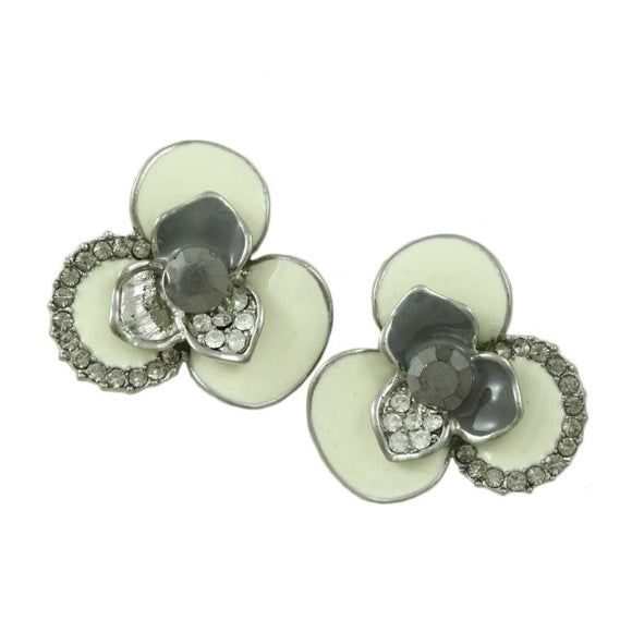 Cream and Gray Enamel Flower with Gray Crystals Pierced Earring  - Lilylin Designs