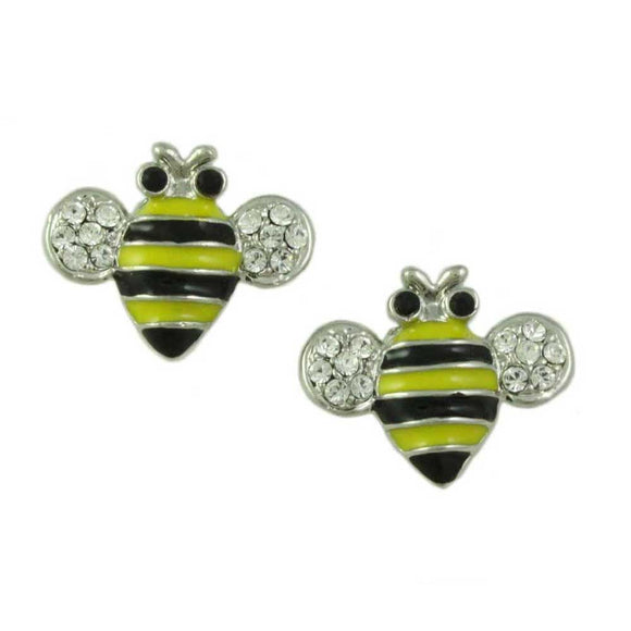 Black and Yellow Enamel Bee with Crystal Wings Pierced Earring - Lilylin Designs