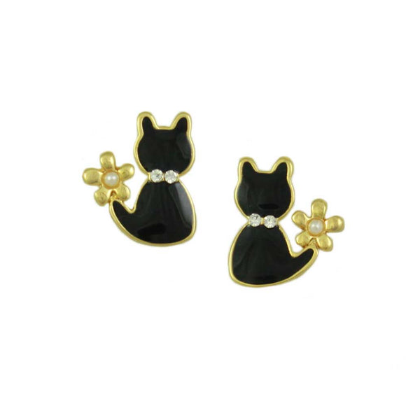 Tiny Black Enamel Cat with Pearl Flower Halloween Pierced Earring - Lilylin Designs