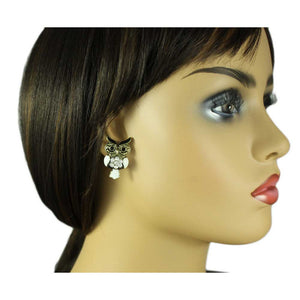 Model with Antique Gold with White Enamel and Crystal Owl Pierced Earring - Lilylin Designs