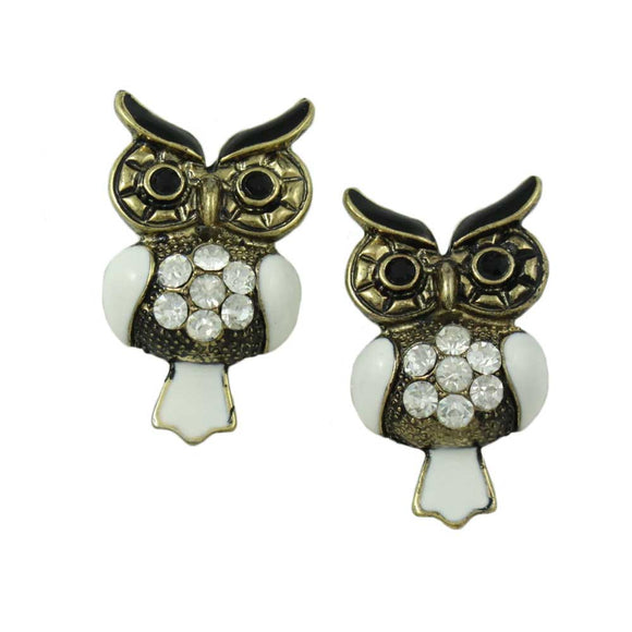 Antique Gold with White Enamel and Crystal Owl Pierced Earring - Lilylin Designs