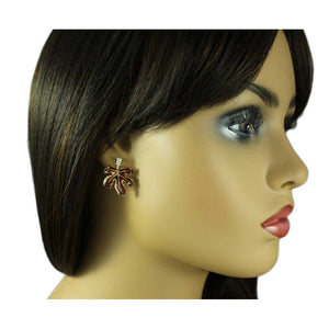 Model with Burgundy Enamel Leaf with Clear Crystals Pierced Earring - Lilylin Designs
