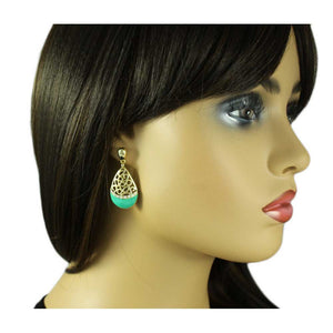 Model with Gold Filigree with Green Enamel and Crystals Teardrop Pierced Earring - Lilylin Designs