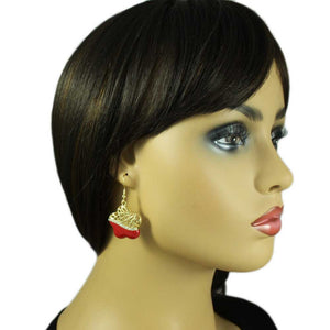 Model with Gold Filigree with Red Enamel and Crystal Flower Dangling Earring