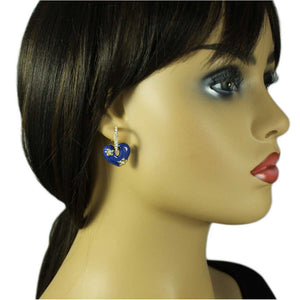 Model with Blue Enamel Heart with Crystal Hoop Dangling Pierced Earring - Lilylin Designs