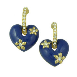 Blue Enamel Heart with Crystal Hoop Dangling Pierced Earring - Lilylin Designs