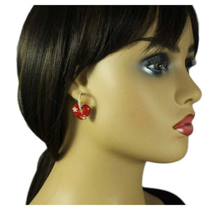 Model with Red Enamel Heart with Crystal Hoop Dangling Pierced Earring - Lilylin Designs