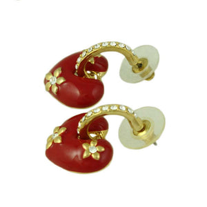 Red Enamel Heart with Crystal Hoop Dangling Pierced Earring (side) - Lilylin Designs