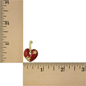 Red Enamel Heart with Crystal Hoop Dangling Pierced Earring (sized) - Lilylin Designs