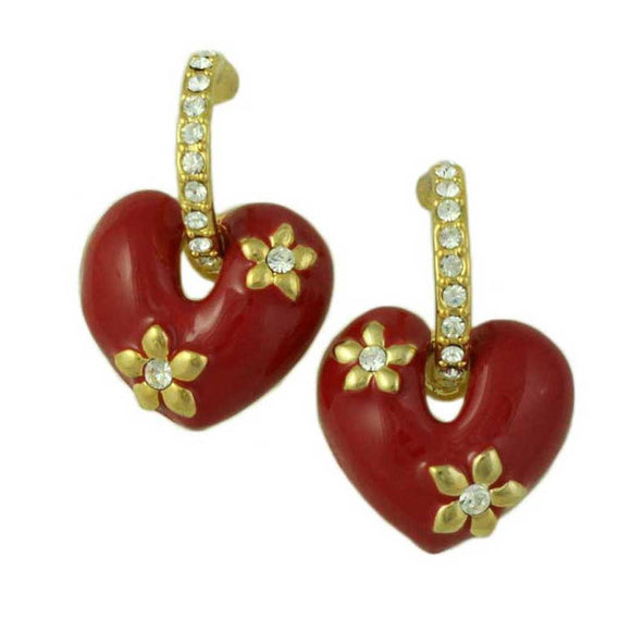 Red Enamel Heart with Crystal Hoop Dangling Pierced Earring - Lilylin Designs