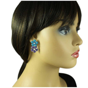 Model with Blue and Purple Enamel Double Daisies Pierced Earring - Lilylin Designs