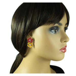 Model with Red and Orange Enamel and Crystal Double Daisies Pierced Earring - Lilylin Designs