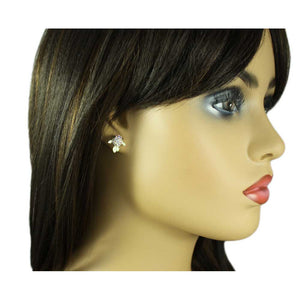 Model with Tiny Cream Enamel and Aurora Borealis Crystal Fish Pierced Earring - Lilylin Designs