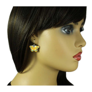 Model with Light Orange Enamel with Pastel Crystals Butterfly Pierced Earring - Lilylin Designs