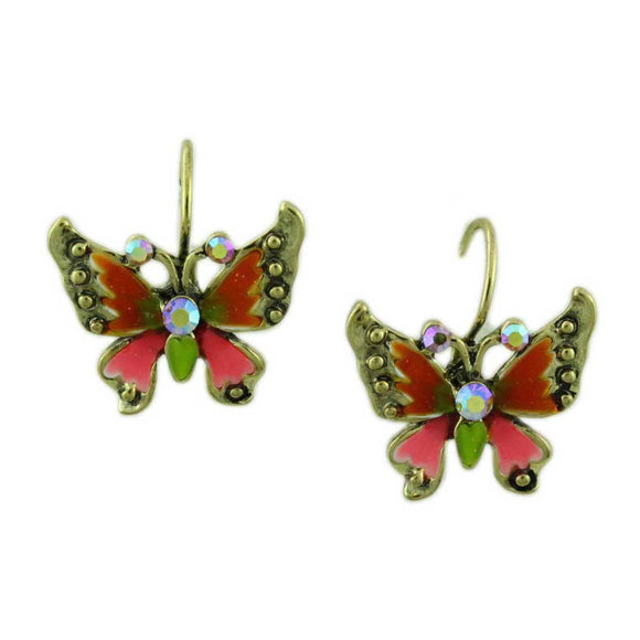 Orange and Pink Enamel and Crystal Butterfly Pierced Earring - Lilylin Designs