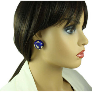 Model with Royal Blue Enamel and Crystal Celestial Dome Earring - Lilylin Designs